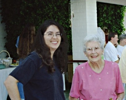 Stacey Solheim Pauwels with Louise, her grandmother. Celebrating Louise's 84th birthday (2002)