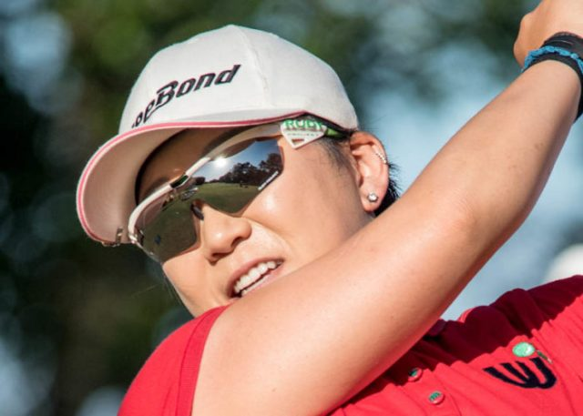 Getting a players view from the reflection in Ladies Masters Champion, Jiyai Shin's glasses