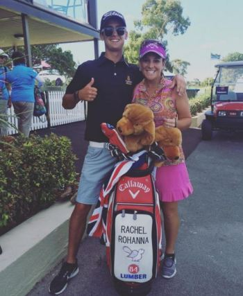 Rachel Rohanna with her caddy for the 2016 Australian Open, Joshua Hayes