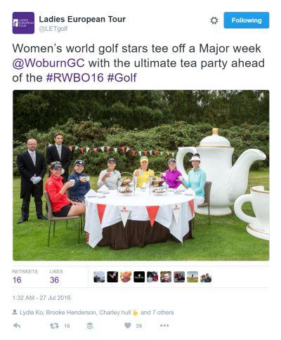 Ladies European Tour Tea Party Tweet