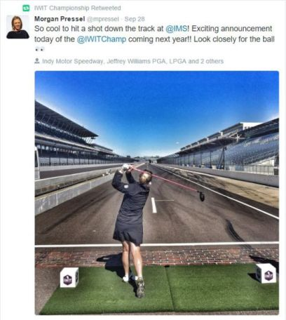 Morgan Pressel's tweet about the announcement of the LPGA Indy Women in Tech Championship
