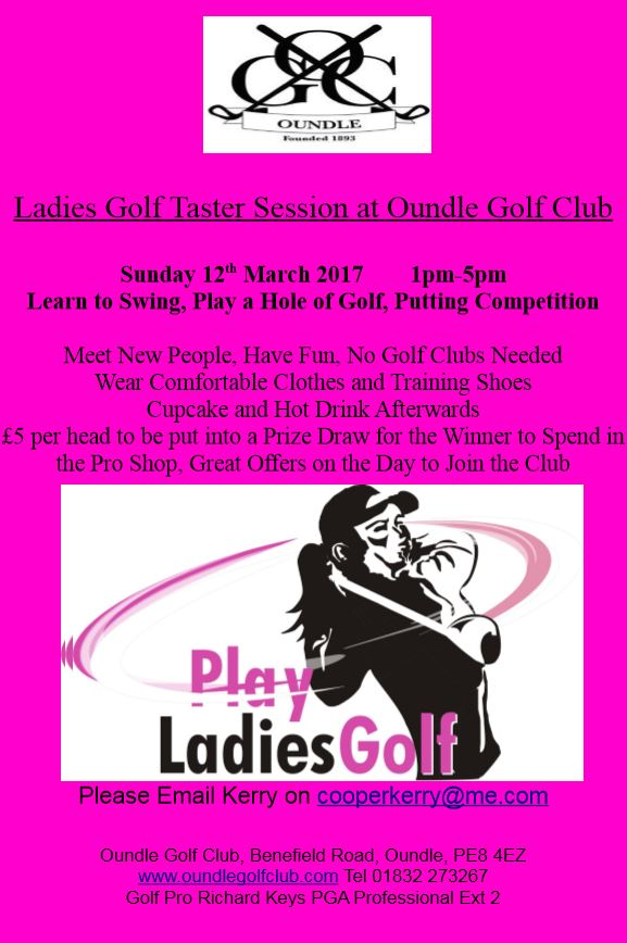 The Poster Promoting the Ladies Golf Taster Session