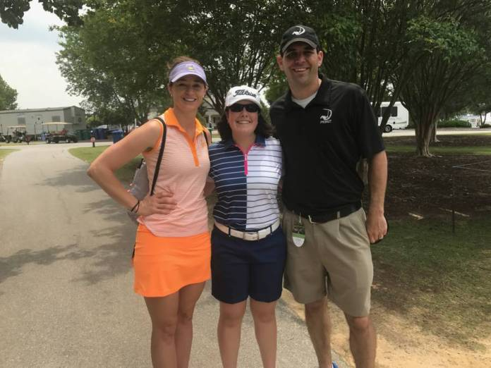 RecruitPKB College Consultant Brandi Jackson, Freyvogel, Tour Director Mike Parker at Womens Health Classic
