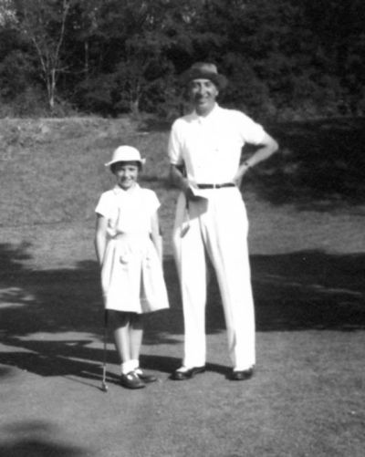 Catherine Lacoste aged 8, with her father René