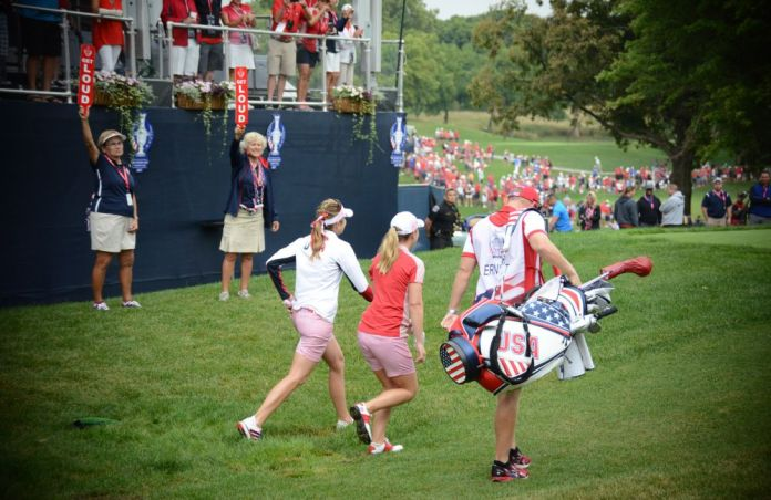 Off and running ... Paula Creamer and Austin Ernst on Day One of the 2017 Solheim Cup