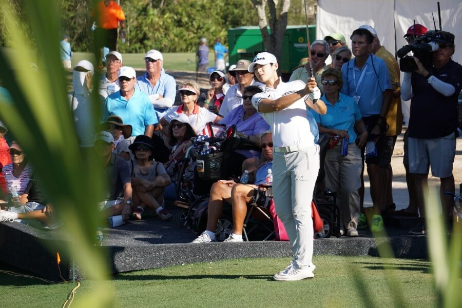 Sung Hyun Park in action on Sunday at the CME Group Tour