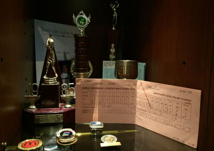 Karrie Webb's display in her locker at the World Golf Hall of Fame - Women's Golf