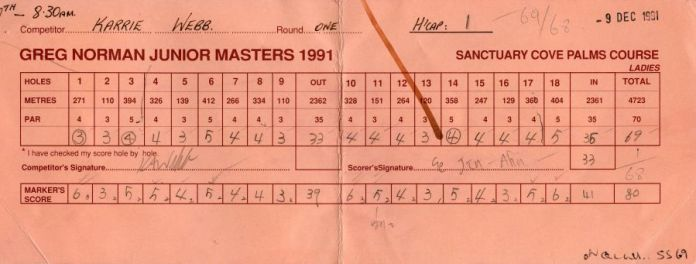 Karrie Webb's round one scorecard from the 1991 Greg Norman Junior Masters