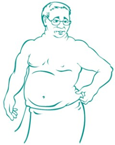 Illustration of a man in a towel examining his weight