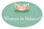 Women in Balance lilypad on water logo