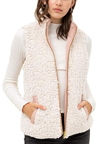 FASHION BOOMY Womens Quilted Padding Vest Reversible Sherpa Fleece Zip Up Jacket with Pockets