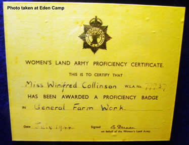 Women's Land Army Proficiency Certificate