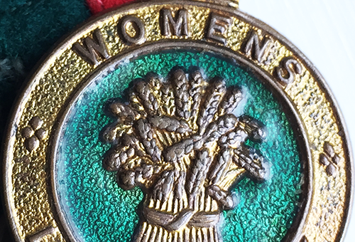 Women's Land Army badge, often wore on the hat, jumper or tie. Source: Catherine Procter WLA collection.