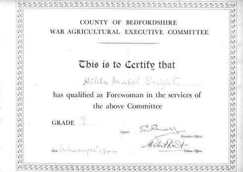 WLA Bedfordshire War Ag Forewoman's Course Grade 2 qualification certificate 12 Feb 1944 for Hilda Bright (Milton Ernest hostel)