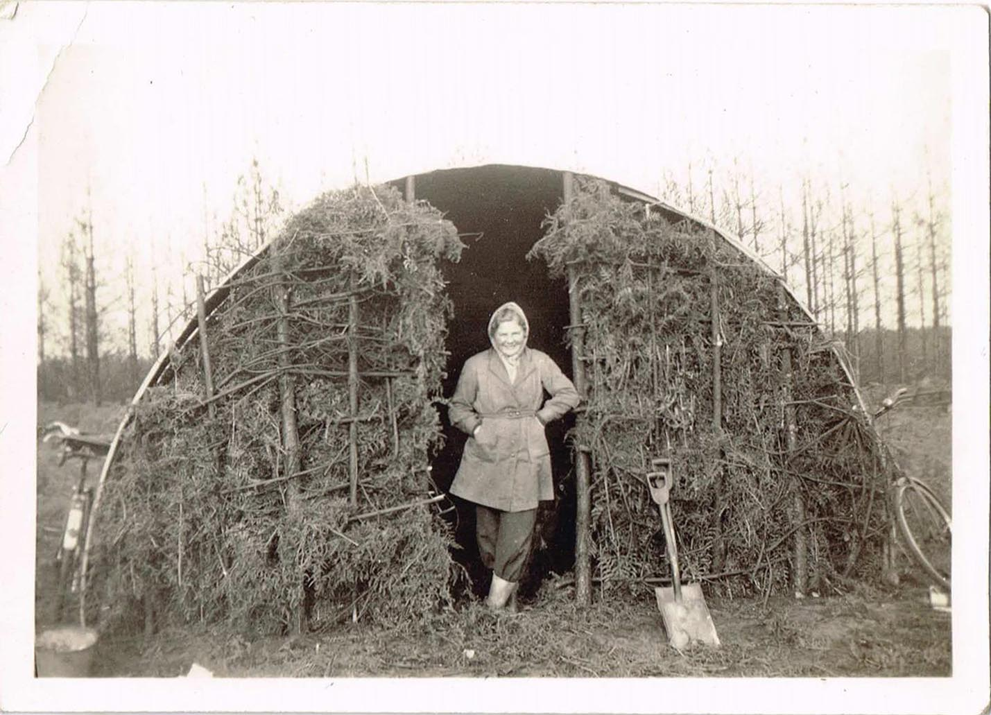 Lumber Jills (aka members of the Women's Timber Corps) at Culford Camp. Margaret Elizabeth Sutherland (nee Coldwell) at Culford Camp, Suffolk