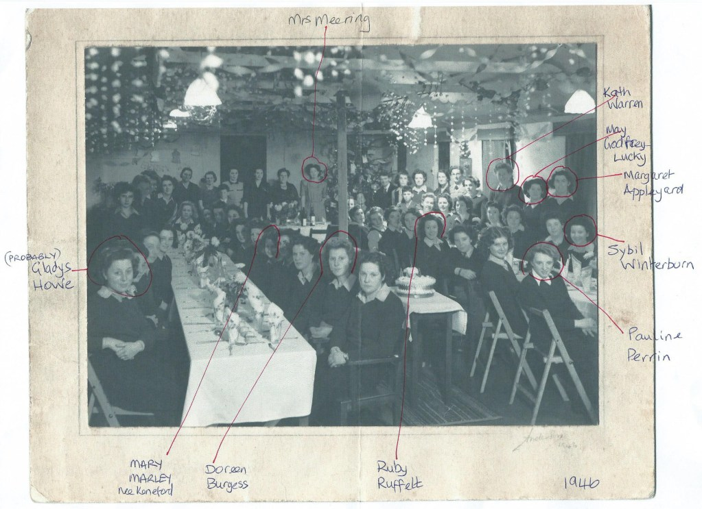 Xmas Party meal Leighton Buzzard WLA hostel 18 Dec 1946