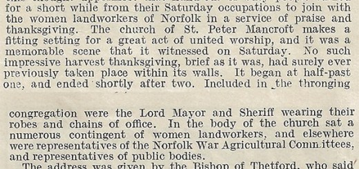 Land workers at Norwich celebrate the harvest. Source: The Landswoman, November 1918,page 247-248