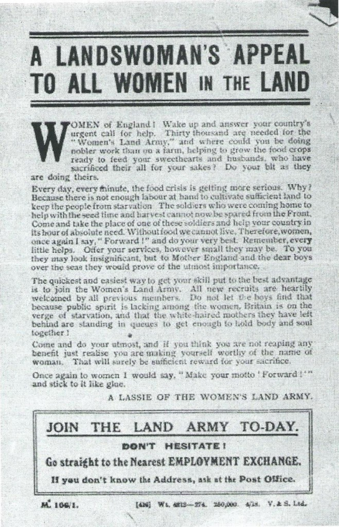 "Recruiting poster [updated. c 1917] ""A Landswoman's Appeal To all Women In The Land…Join The Land Army To-day. Don't Hesitate."" Courtesy of Stuart Antrobus"