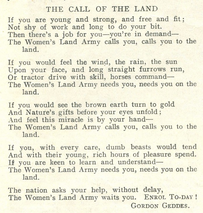 'The Call Of The Land' - a recruitment poem written by Gordon Geddes, based at St Andrew's House in Scotland. Source: The Land Girl, April 1942