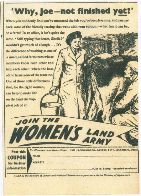 Why, Joe - not finished yet? Source: Bronwen Jones. Women's Land Army newspaper recruitment.