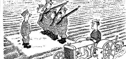 WLA WW2 cartoon re tractor-driving land girl & local Home Guard volunteers 082