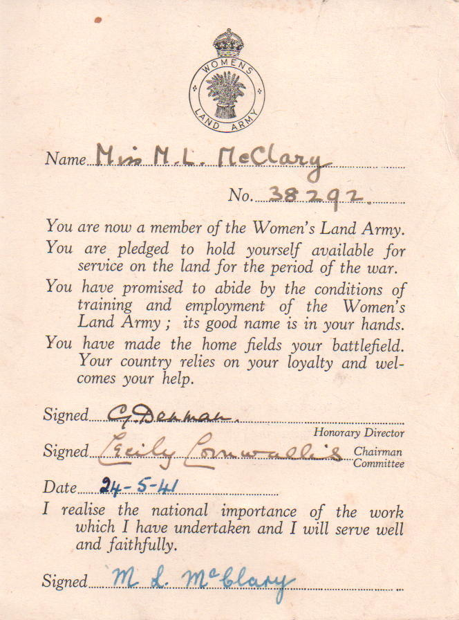 Miss M.L.McClary Women's Land Army Card