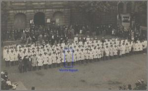 Martha Bunting (nee Bagnall) at the award of Good Service Ribbons in Stafford, May 1919.