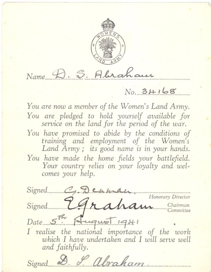Women's Land Army Pledge Card