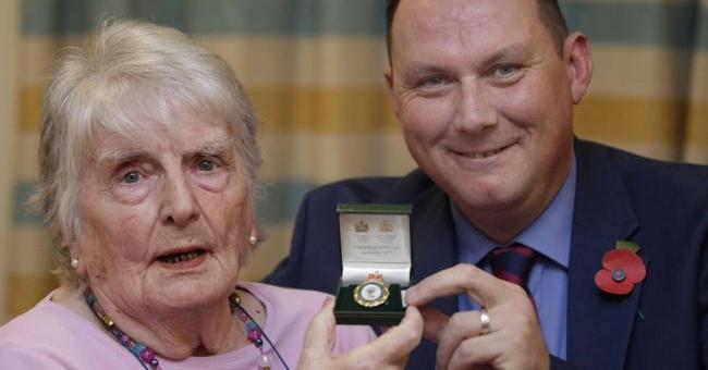Nellie Harris with Royal British Legion representative Steve Arundell