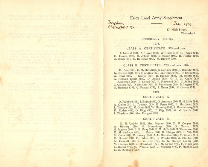 Essex Land Army Supplement Page 1, June 1919.