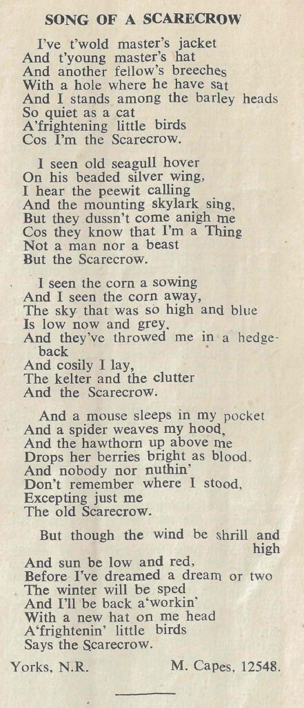 Song of a Scarecrow. From The Land Girl, November 1944, p5