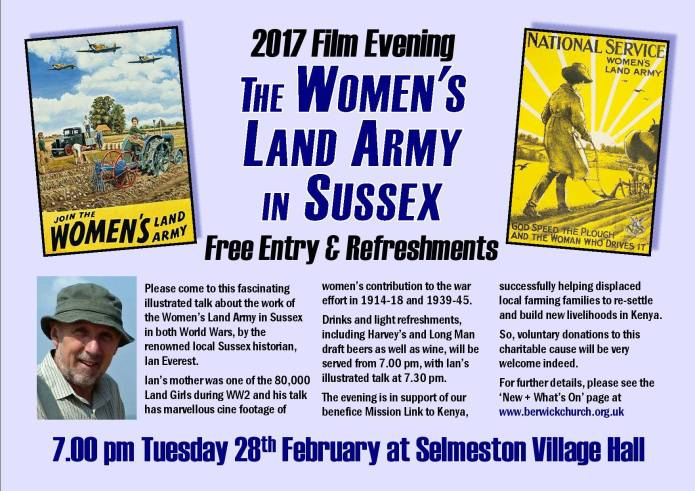 Women's Land Army evening - Selmeston Village Hall, near Lewes, East Sussex, BN26 6UG