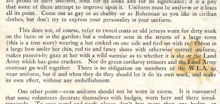 Uniformity - The Land Girl Advice