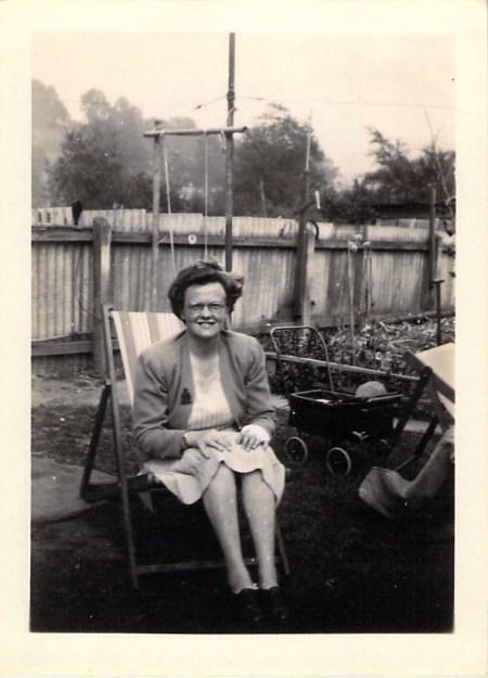 """Hilda in the garden of """"The Ark""""."""