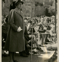 Lady Denman making a speech at Arundel Castle Land Army rally  (May 1943) Source: Garland N22143, West Sussex Record Office