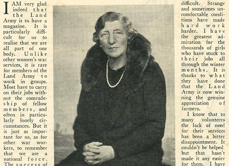Lady Denman's message in the April 1940 edition of The Land Girl.