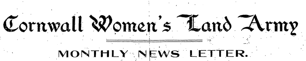 Cornwall Women's Land Army Monthly Newsletter