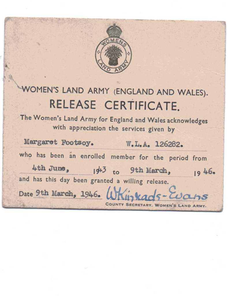 Margaret Footsoy Release Certificate