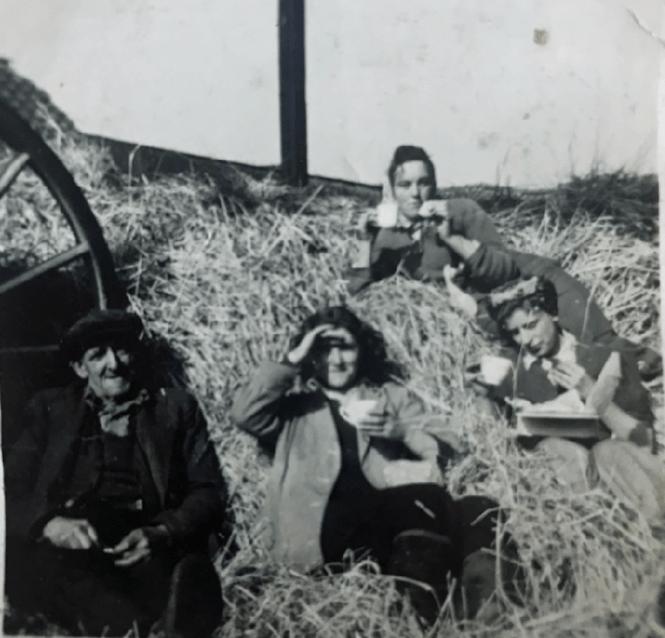 Tea break during threshing at Smeaton Dorothy Singleton (née Smith) WLA collection
