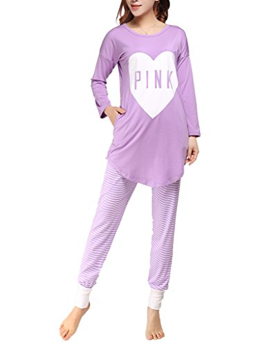 Goldenfox Women Turn Down Collar Tops and Pants Pajama Set Long Sleeve Knit Button Sleepwear S-XXL