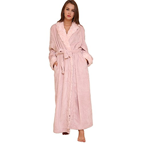 Hawiton Mens Bathrobes Soft Fleece Dressing Gown Long Robe Sleepwear Nightwear for Men and Women