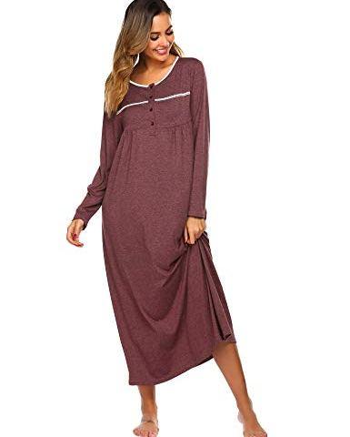 Ekouaer Women Long Nightgown Short Sleeve Sleepshirt Button Up Sleepwear Casual Henley Lounge Dress with Pockets