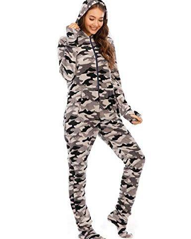 LD Outlet Women/'s Hooded Fleecy Onesie Grey UK 12
