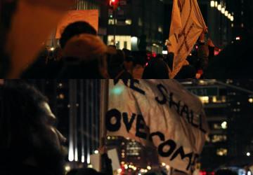 Activist's image at a Trump protest.