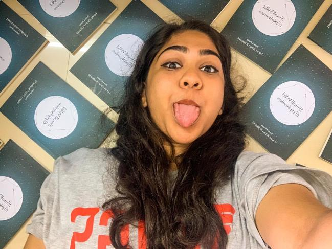 Tanvi with the copies of her books