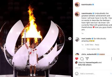 Naomi Osaka lights the 2020 Olympic flame