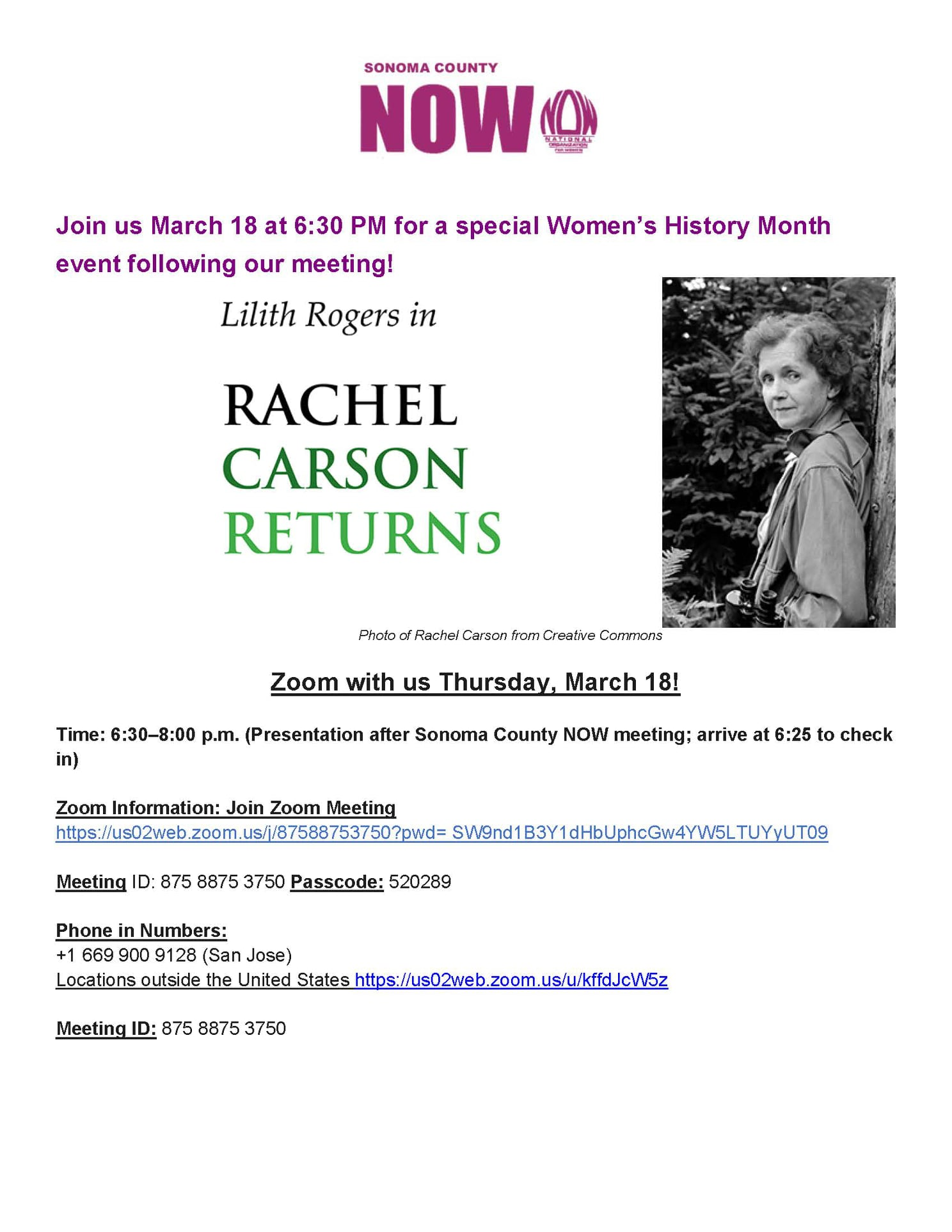 NOW Meeting March 18, 2021 Rachel Carson presentation by Liilth Rogers