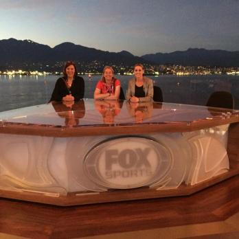 Sally Horrax, Rachel Pavlou and Kelly Smith in the Fox studios