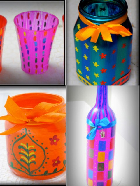 DIY Home Decor: glass bottle collage