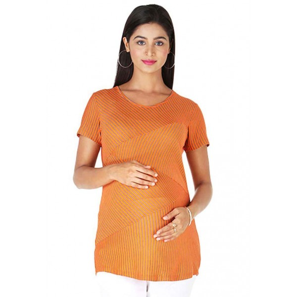 Orange cotton pregnancy top
